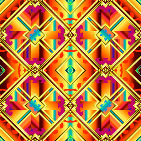 Geometric colorful seamless pattern. Gradient abstract vector background. Modern repeat ornamental backdrop. Tribal ethnic style striped ornaments. Patterned geometrical design. Ornate texture.
