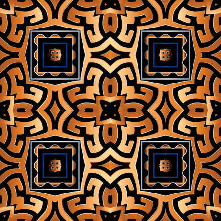 Greek tribal ethnic style seamless pattern. Elegant vector background. Repeat backdrop. Ancient geometric ornament with square frames, lines, abstract shapes. Greek key, meander. Modern ornate design. 矢量图像