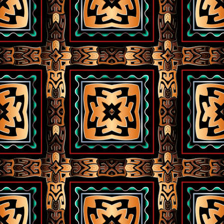 Greek tribal ethnic style seamless pattern. Plaid vector background. Repeat tartan backdrop. Ancient geometric striped ornament with square frames, wave lines, abstract shapes. Modern ornate design.