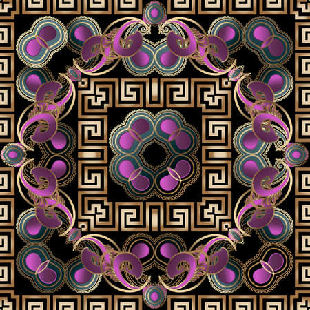 Colorful floral Paisley seamless pattern with square frames. Greek ornaments. Decorative beautiful patterns. Vector ornamental background. Ethnic style backdrop. Greek key, meanders, flowers, shapes. 矢量图像