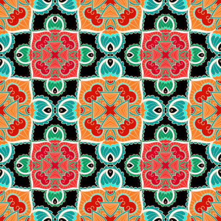 Floral ethnic seamless pattern. Colorful tribal vector background. Repeat plaid folkloric backdrop. Paisley flowers ornaments. Bright motley decorative design for fabric, prints, cards, wallpapers. 矢量图像
