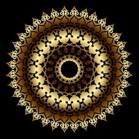 Gold luxury 3d mandala pattern. Floral ornamental background. Patterned vector ethnic indian style backdrop. Royal gold round ornament. Vintage golden flowers, leaves. Surface texture. Ornate design.