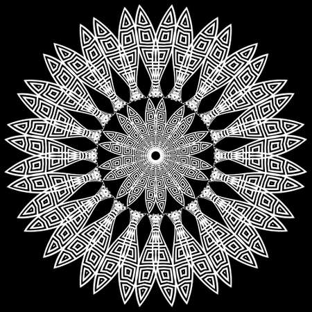 Black and white greek style floral mandala pattern. Abstract flower. Ethnic ornamental vector background. Decorative backdrop. Greek key, meanders round ornament. Beautiful ornate design. Template. 矢量图像