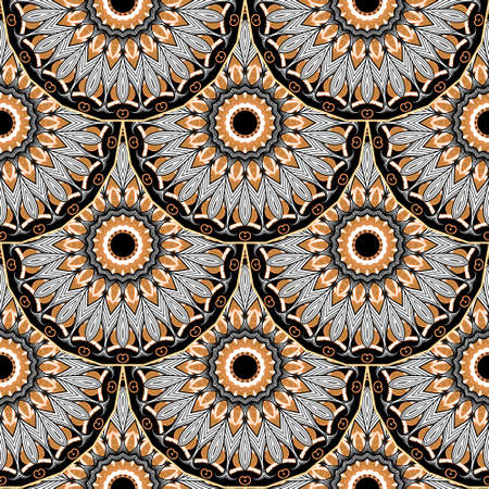 Colorful mandalas seamless pattern. Floral ornamental ethnic background. Repeat vector tribal backdrop. Tiled geometric abstract ornament with circles, flowers, leaves. Ornate lacy modern design.