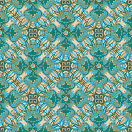 Colorful Paisley seamless pattern. Floral ornamental ethnic greek style background. Repeat vector tribal backdrop. Geometric line art ornaments with abstract flowers, leaves, greek key, meanders.