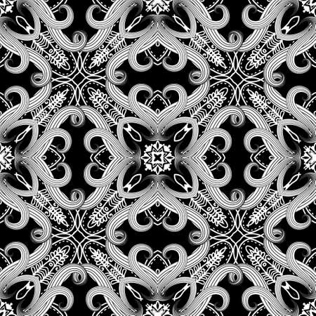 Black and white intricate fantasy seamless pattern. Floral ornamental ethnic background. Repeat vector tribal backdrop. Abstract doodle line art ornaments with flowers, leaves, dotted lines, shapes.