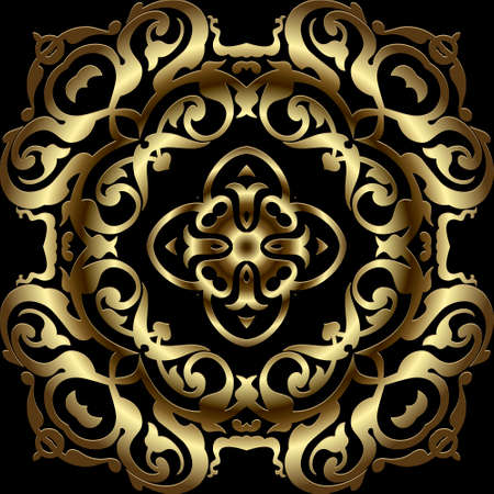Gold luxury Baroque 3d seamless pattern. Floral ornamental mandalas background. Repeat vector Damask style backdrop. Royal ornament with vintage golden flowers, leaves. Surface texture. Ornate design.