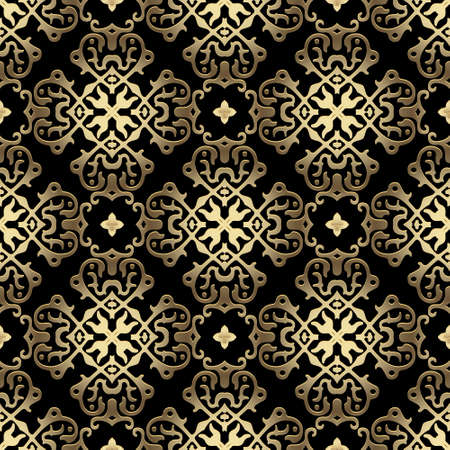 Gold luxury 3d Damask seamless pattern. Floral ornamental arabic background. Repeat vector arabesque backdrop. Royal shiny ornaments with vintage golden flowers, leaves. Beautiful ornate design.