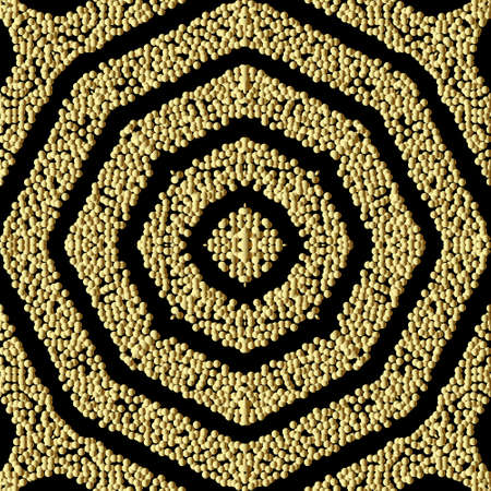 Textured geometric gold seamless pattern. Grunge stippled glitters backdround. Repeat vector dotted backdrop. Surface 3d texture. Symmetric geometry ornament with stipples, dots, shapes, stripes. 矢量图像