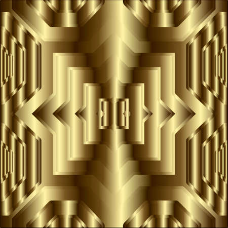 Gold textured 3d geometric seamless pattern. Ornamental ornate golden background. Surface repeat vector backdrop. Modern grunge geometrical Deco ornament with effects. Luxury design. Endless texture.