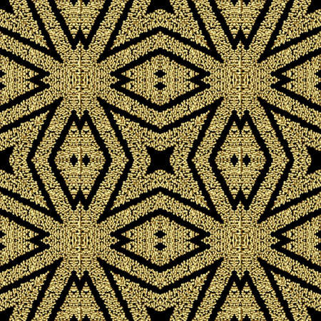 Textured geometric gold seamless pattern. Grunge stippled abstract backdround. Repeat vector dotted backdrop. Surface 3d texture. Symmetric geometry ornament with stipples, dots, shapes, stripes. 矢量图像