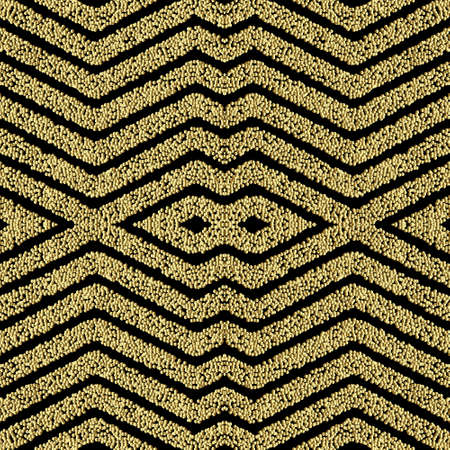 Textured zig zag seamless pattern. Grunge stippled geometric backdround. Repeat vector dotted backdrop. Surface 3d gold texture. Striped ornate zigzag ornaments with stipples, dots, shapes, stripes.