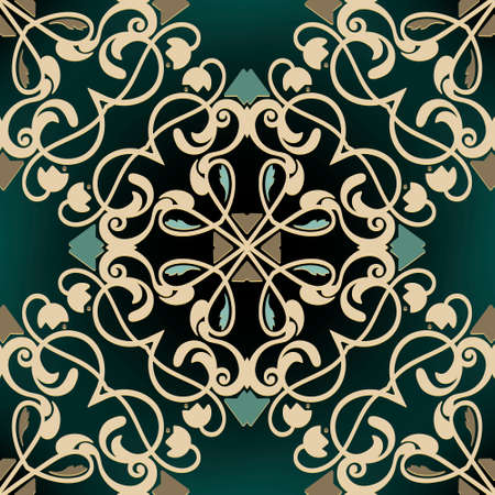 Floral vintage seamless pattern. Ornamental beautiful Baroque background. Colorful Damask ornament. Luxury backdrop. Ornate vector design with flowers, leaves, lines, swirls. For fabric, cards, prints 矢量图像