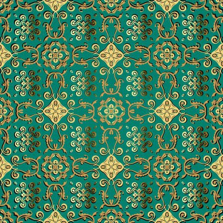Floral vintage seamless pattern. Ornamental beautiful Baroque background. Gold Damask ornament. Luxury backdrop. Ornate vector design with flowers, leaves, lines, swirls. For fabric, cards, prints
