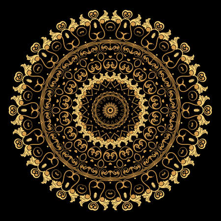 Gold Baroque round mandala pattern. Ornamental Deco background. Vintage floral golden Damask ornaments. Luxury backdrop. Beautiful ornate vector design with circles, flowers, leaves, frame, border.