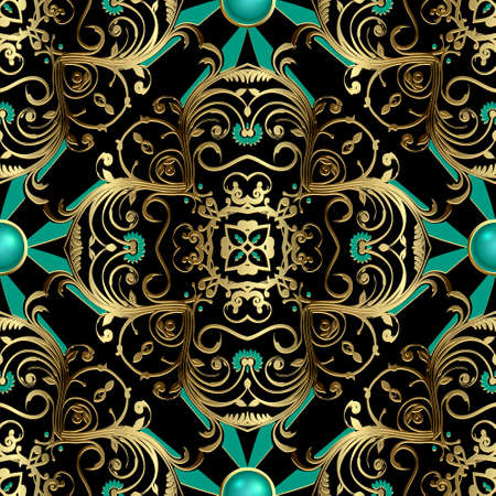 Gold floral vintage seamless pattern. Ornamental Deco background. Golden Damask ornament. Luxury backdrop. Jewelry ornate vector design with flowers, leaves, lines, swirls. For fabric, cards, prints.