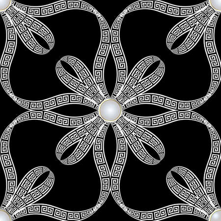 Floral black and white jewelry seamless pattern. Ornamental ethnic greek style background with vintage flowers, ribbons, buttons. Greek key meanders abstract ornament. Vector decorative ornate design. 矢量图像