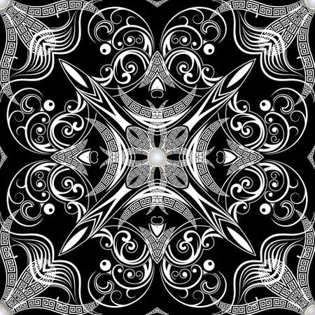 Floral black and white jewelry seamless pattern. Ornamental ethnic greek style background with vintage flowers, leaves, buttons. Greek key meanders abstract ornament. Vector decorative ornate design. 矢量图像