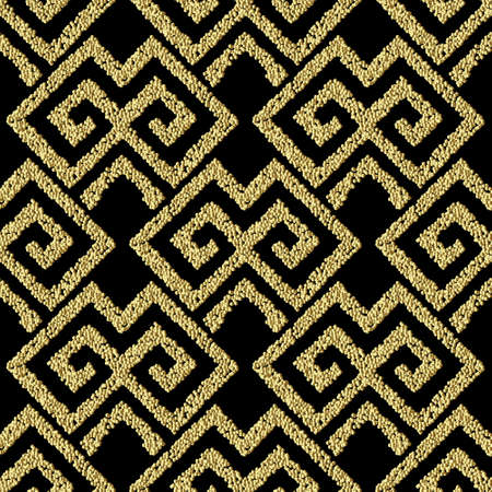 Textured geometric gold seamless pattern. Grunge stippled abstract backdround. Repeat vector tribal dotted backdrop. Surface 3d texture. Glittery greek ethnic ornaments with stipples, dots, shapes. 矢量图像