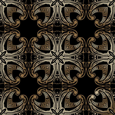 Baroque style greek seamless pattern. Floral ornamental background. Repeat vector greek backdrop. Geometric gold ornament with vintage golden flowers, leaves, meanders. Modern ornate luxury design.