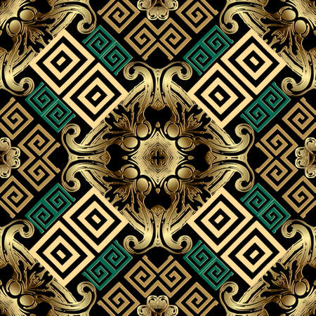 Tribal ethnic seamless pattern. Floral ornamental background. Repeat vector greek backdrop. Geometric colorful ornament with vintage golden Baroque style flowers, leaves. Modern ornate surface design.