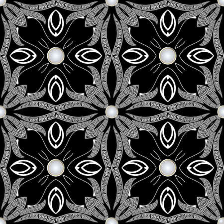 Floral black and white jewelry seamless pattern. Ornamental ethnic greek style background with vintage paisley flowers, swirl line art tracery leaves and greek key meanders ornaments. Vector design.