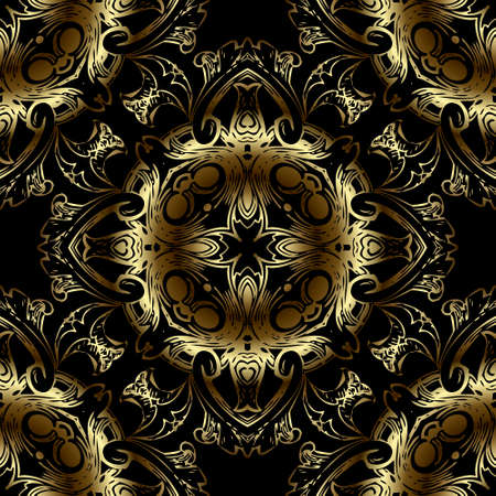 Gold luxury 3d Baroque seamless pattern. Floral ornamental background. Repeat vector Damask backdrop. Royal shiny gold ornaments with vintage golden flowers, leaves. Beautiful ornate surface design.