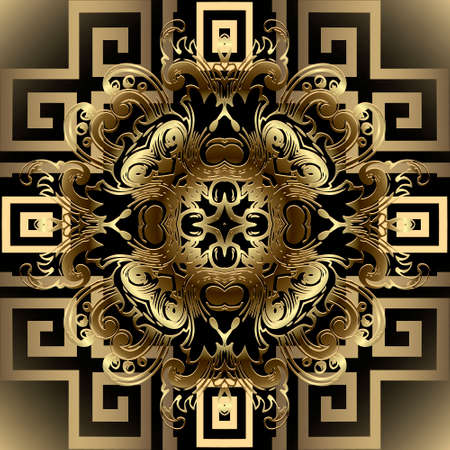Baroque style 3d greek seamless pattern. Floral ornamental background. Repeat vector greek backdrop. Geometric gold ornament with vintage golden flowers, leaves, meanders. Modern ornate luxury design.