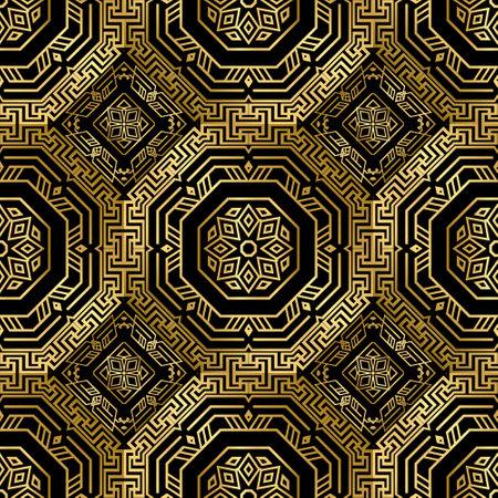 Gold Deco seamless pattern. Vector ornamental greek background. Geometric repeat symmetrical backdrop. Modern abstract ornaments. Geometrical shapes, hexagon, rhombus, lines. Luxury ornate design. Vecteurs
