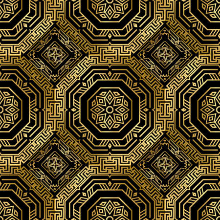 Gold Deco seamless pattern. Vector ornamental greek background. Geometric repeat symmetrical backdrop. Modern abstract ornaments. Geometrical shapes, hexagon, rhombus, lines. Luxury ornate design. Vector Illustration