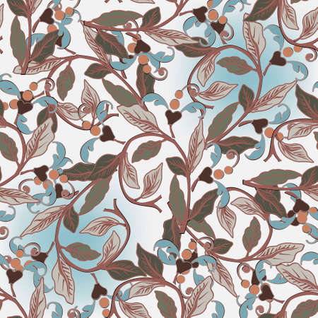 Leafy seamless pattern. Elegance vector Baroque style background. Repeat floral ornamental backdrop. Vintage flowers, leaves, branches. Beautiful ornate design for wallpapers, fabric, cards, textile.