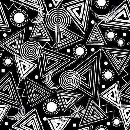 Textured geometric seamless pattern. Modern rough black and white memphis background. Repeat vector dirty backdrop. Grungy tribal ethnic symbols, triangles, spirals, circles, squares, abstract shapes.