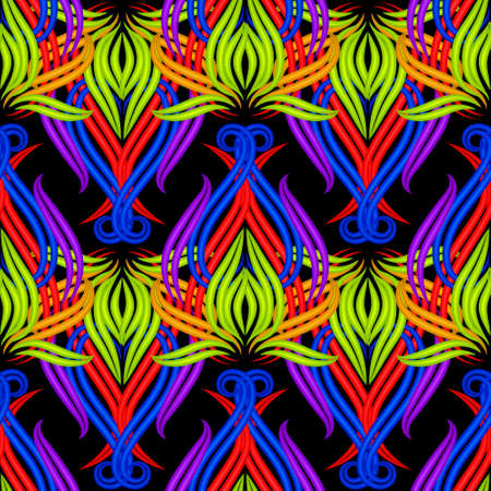 Illuminated floral 3d seamless pattern. Surface neon flowers ornament. Vector ornamental colorful background. Repeat bright borders backdrop. Beautiful decorative design. For prints, wallpaper, tile. 矢量图像