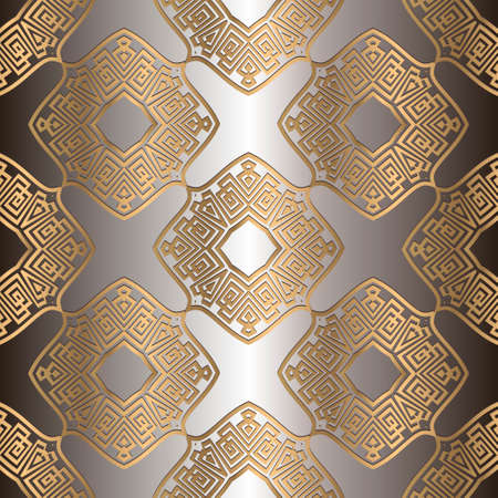 Luxury gold seamless pattern. Geometric greek golden background. Vector repeat patterned backdrop. Vintage ornaments with frames, greek key, meanders, geometric shapes, rhombus. Ornate shiny design.