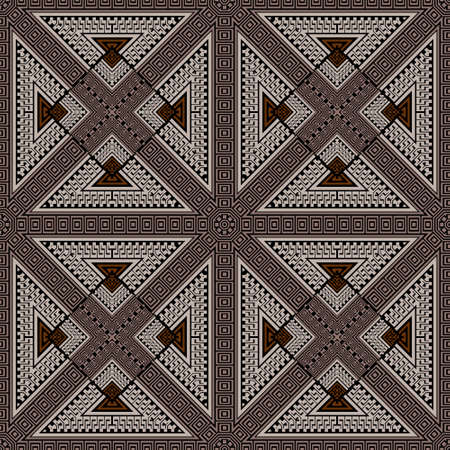Greek tribal ethnic seamless pattern. Geometric colorful background. Vector repeat backdrop. Abstract ornament with borders, frames, greek key, meanders, geometric shapes, triangles, rhombus, squares.