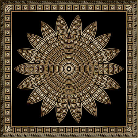 Floral mandala pattern. Square frame. Vector ornamental background. Decorative tribal ethnic backdrop. Greek ornaments. Abstract round golden flower with lines, shapes, greek key, meanders, borders. 矢量图像