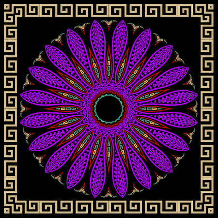 Floral violet mandala pattern. Square frame. Vector ornamental background. Decorative tribal ethnic backdrop. Greek ornaments. Abstract round colorful flower with lines, greek key, meanders, borders.