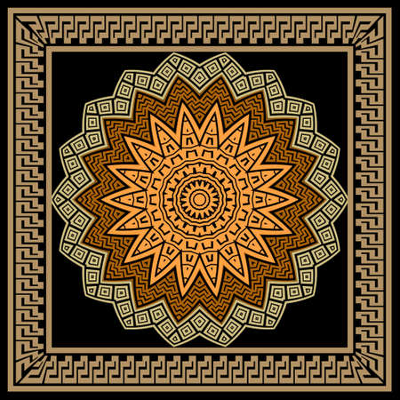 Floral colorful mandala pattern. Square frame. Vector ornamental background. Decorative tribal ethnic backdrop. Greek ornaments. Abstract round flower with zigzag lines, greek key, meanders, borders.