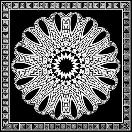 Floral black and white mandala pattern. Square frame. Vector ornamental background. Decorative tribal ethnic backdrop. Greek ornaments. Abstract round flower with lines, greek key, meanders, borders. 矢量图像