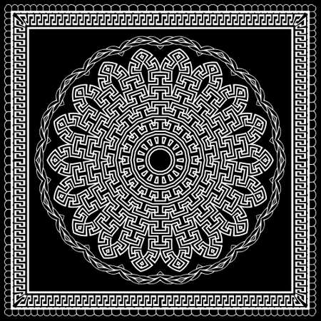 Floral black and white mandala pattern. Square frame. Vector ornamental background. Decorative tribal ethnic backdrop. Greek ornaments. Abstract round flower with greek key, meanders, lacy borders. 矢量图像