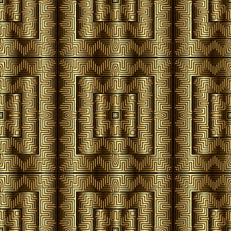 Gold 3d seamless pattern. Ornamental textured golden background. Ornate repeat metal backdrop. Greek key meander ancient ornament. Surface grunge texture. Luxury design for wallpapers, fabric, prints. 矢量图像