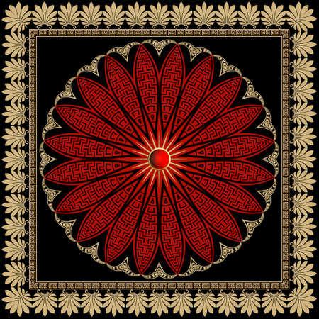 Floral red mandala pattern. Square frame. Vector ornamental background. Decorative tribal ethnic backdrop. Greek ornaments. Abstract round colorful flower with lines, greek key, meanders, borders.