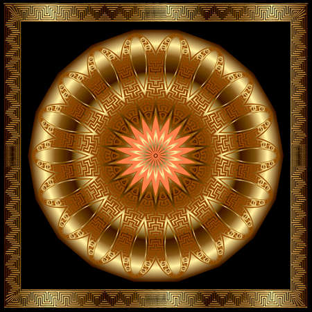 Gold 3d mandala pattern. Square frame. Vector floral background. Decorative luxury backdrop. Greek ornaments. Abstract round golden flower with zigzag lines, shapes, greek key, meanders, borders.