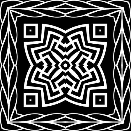 Floral black and white mandala pattern. Square braided frame. Vector ornamental background. Decorative tribal ethnic backdrop. Greek ornaments. Abstract flower with greek key, meanders, borders.