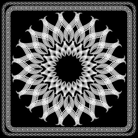 Floral black and white mandala pattern. Square frame. Vector ornamental background. Decorative tribal ethnic backdrop. Greek ornaments. Abstract round flower with greek key, meanders, braided borders.