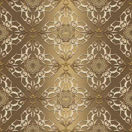 Vintage gold seamless pattern. Ornamental arabesque shiny background. Repeat vector backdrop. Floral greek ornaments. Vintage golden flowers, leaves, lines. Beautiful luxury ornate decorative design.