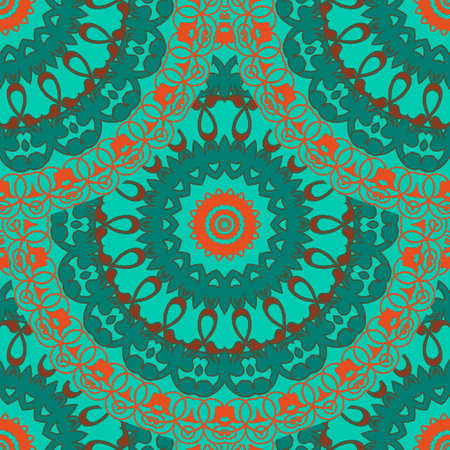 Floral mandalas seamless pattern. Vector colorful background. Beautiful tiled arabesque ornaments. Repeat ornamental tribal ethnic style backdrop. Abstract flowers, leaves, frames, circles, borders.