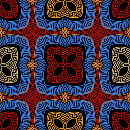 Colorful tribal ethnic seamless pattern. Vector floral greek background. Geometric greek key, meanders ornament with abstract flowers, shapes, frames, squares, lines. Ornate repeat symmetrical design.