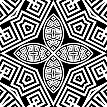 Black and white tribal ethnic seamless pattern. Vector floral background. Geometric greek key, meanders abstract ornament with flowers, radial shapes, fractals, lines. Ornate repeat symmetric design.