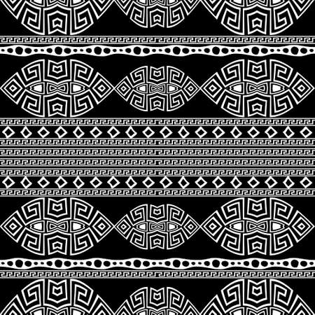 Tribal ethnic borders seamless pattern. Vector modern ornamental black and white background. Geometric greek key, meanders abstract ornament with geometrical shapes, stripes, lines, circles, rhombus.